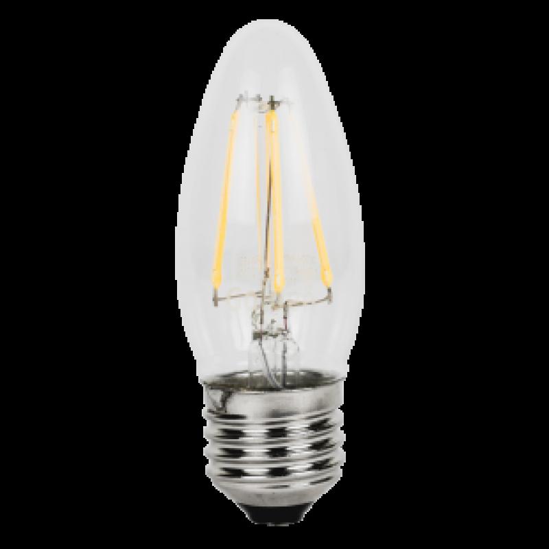 Lampada E12 Led Vela: Lâmpada Vela LED E27 4W Filamento 2700K Bivolt GOLDEN